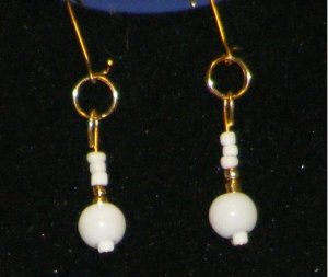 Handcrafted white and gold earrings