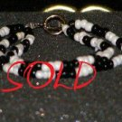 Handcrafted beaded bracelet black and white glass beads