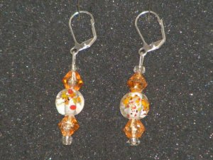Handcrafted glass beaded floral earrings