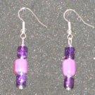 Handcrafted purple glass beaded earrings