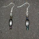 Handcrafted black beaded earrings
