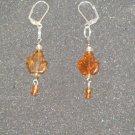 Handcrafted brown leaf glass bead earrings