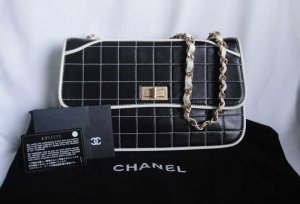 Authentic Black and White CHANEL Lambskin Flap