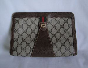 Vintage Gucci Brown w/Red & Green Stripe CLUTCH bag