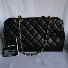 AUTHENTIC Vintage Black Chanel LAMBSKIN mademoiselle tote