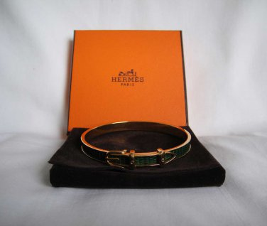 AUTHENTIC Pre Owned Hermes green leather gold belt buckle Bangle