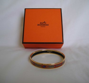 AUTHENTIC Pre Owned Hermes Narrow Cloisonne Bangle Bracelet Red/Gold enamel