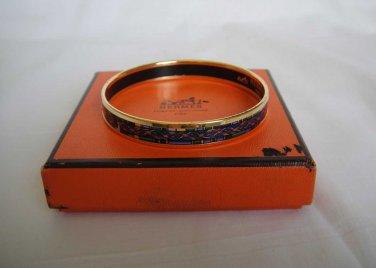 AUTHENTIC Pre Owned Hermes Narrow Cloisonne Bangle Bracelet Blue/Green Gold enamel