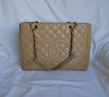 AUTHENTIC Chanel Beige CAVIAR Grand Shopping Tote GST