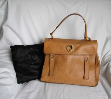 YSL Yves Saint Laurent TAN Leather MUSE TWO Tote Shopper Bag