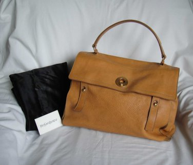 YSL Yves Saint Laurent Large TAN Leather MUSE TWO Tote Shopper Bag