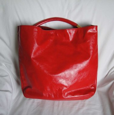 YSL Yves Saint Laurent RED Patent Leather ROADY Hobo