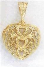 24K Gold Scrolled Heart Charm