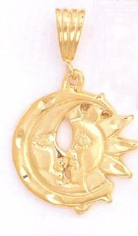 24K Gold Moons Kissing Pendant charm