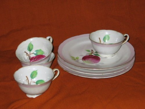 Hand Painted Apples Dessert Plate and Teacup Set