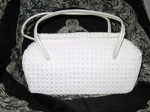 Woven Plastic White Purse