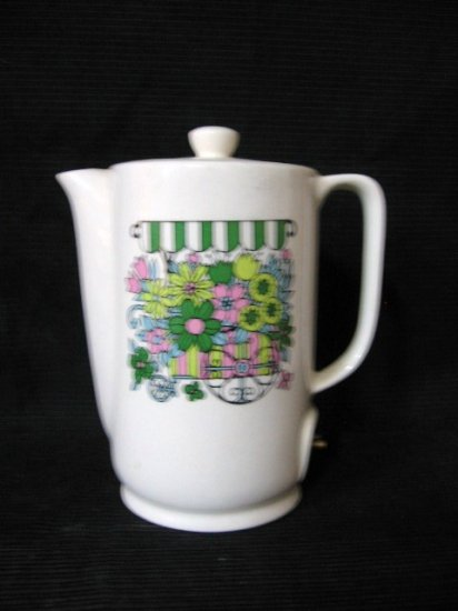 Small Electric China Coffee Pot with Flower Cart Design