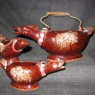 Three Wire Handled Ceramic Geese Baskets