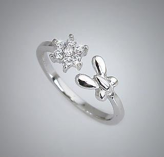 .925 Sterling Silver Butterfly CZ Flower Toe Pinky Ring Toering (006)