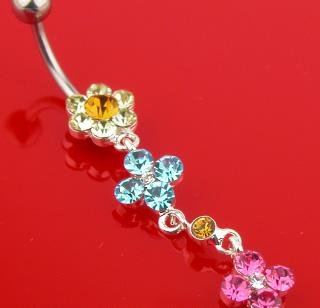 Crystal Multiple Flower Dangle Belly Button Navel Ring Bar (648)