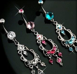 Pink Gem Pink Swarovski Crystal Aurora Borealis Chandelier Dangle Belly Button Navel Ring Bar (3728)