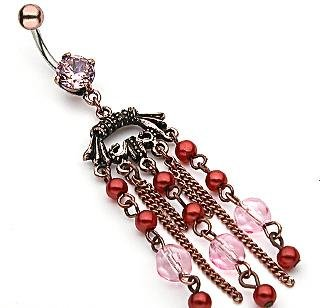 Vintage Look Pink Gem Red Faux Pearl Pink Bead Dangle Belly Button Navel Ring Bar (0171)