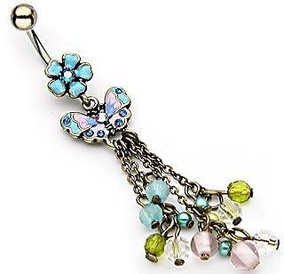 Gem Flower Butterfly Bead Dangles Belly Button Navel Ring Bar (0169)