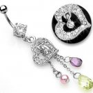 Pave Heart Charm Briolette Faux Pearl Dangle Belly Button Navel Ring Bar 14 gauge 3/8 (5900)