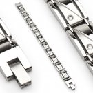 Stainless Steel Link Clear Gems Men's Bracelet (6617)