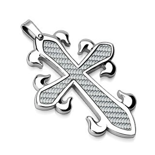 Stainless Steel White Carbon Fiber Tribal Cross Pendant (7001)