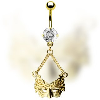 Masquerade Ball Mask Gold Plated CZ Navel Belly Button Ring Bar (0902)