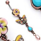 Vintage Look Flower Butterfly Faux Pearl Dangle Belly Button Navel Ring Bar (3755)
