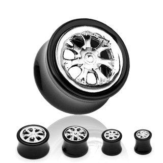 Black Acrylic Wheel Rim Saddle Plug Earlet Expander Tunnel 10mm (7639)