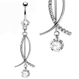 Floating CZ 'Fish' Design Dangle Navel Belly Button Ring Bar (6744)