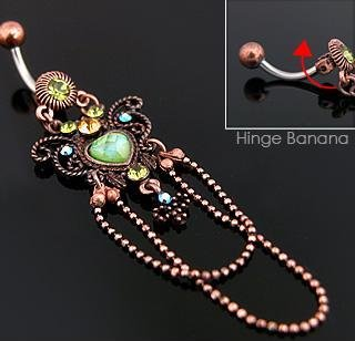 Vintage Style Butterfly with Heart Gem Navel Belly Button Ring Bar (3888)