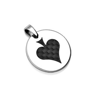 Round Stainless Steel Carbon Fiber Upside Down Spade Pendant (6688)