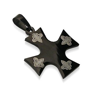 Black Stainless Steel Fleur de Lis Iron Celtic Cross Pendant (7363)