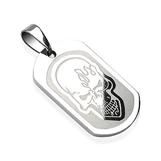 Stainless Steel Flaming Skull Tribal Etched Pendant Flame (7242)