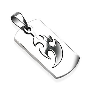 Stainless Steel 2 Part Piece Tribal Thunder Design Pendant (7311)