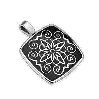 Square Stainless Steel Lotus Flower Inlay Black Pendant (7022)