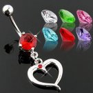 Clear CZ Heart Dangle with Gem Belly Button Navel Ring Bar 14 gauge (2259)