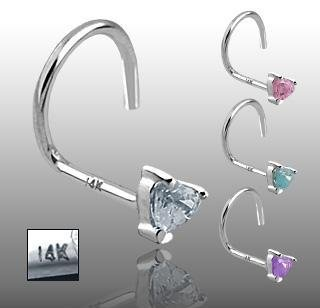 14k White Gold Nose Screw with Pink Heart CZ 20 gauge Stud Ring Bone Spiral (GDWQ06)