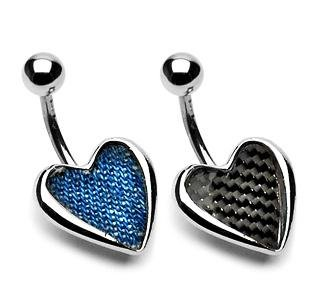 Real Denim Heart Belly Button Navel Ring Bar 14 gauge 3/8 (7406)