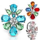 Blue Green Gem Cluster Reverse Dangle Belly Button Navel Ring Bar 14 gauge (6508)