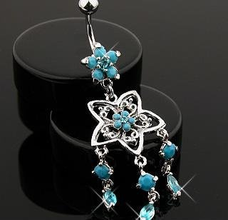Floral Faux Turquoise Belly Button Navel Ring Bar with Gem Dangles 14 gauge (5033)