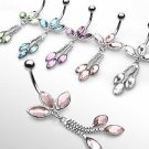 Clear Gem Petal Drop Belly Button Navel Ring Bar 14 gauge 3/8 (903)