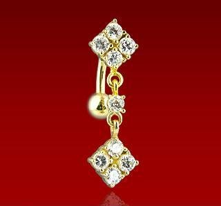 14k Yellow Gold Reverse Dangle Double Diamond Design Belly Button Navel Ring Bar (GDN036)