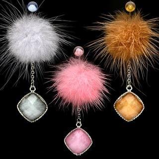 Fur Pendant Dangle Belly Button Navel Ring Bar Pink 14 gauge (0222)
