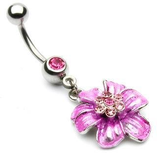 Pink Gem & Pink Flower with Gems Belly Button Navel Ring Bar 14 gauge (3760)