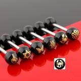 Black Anodized Barbell Tongue Ring Bar with Scorpion Inlay